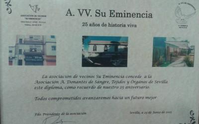 Reconocimiento AA.VV. Su Eminencia